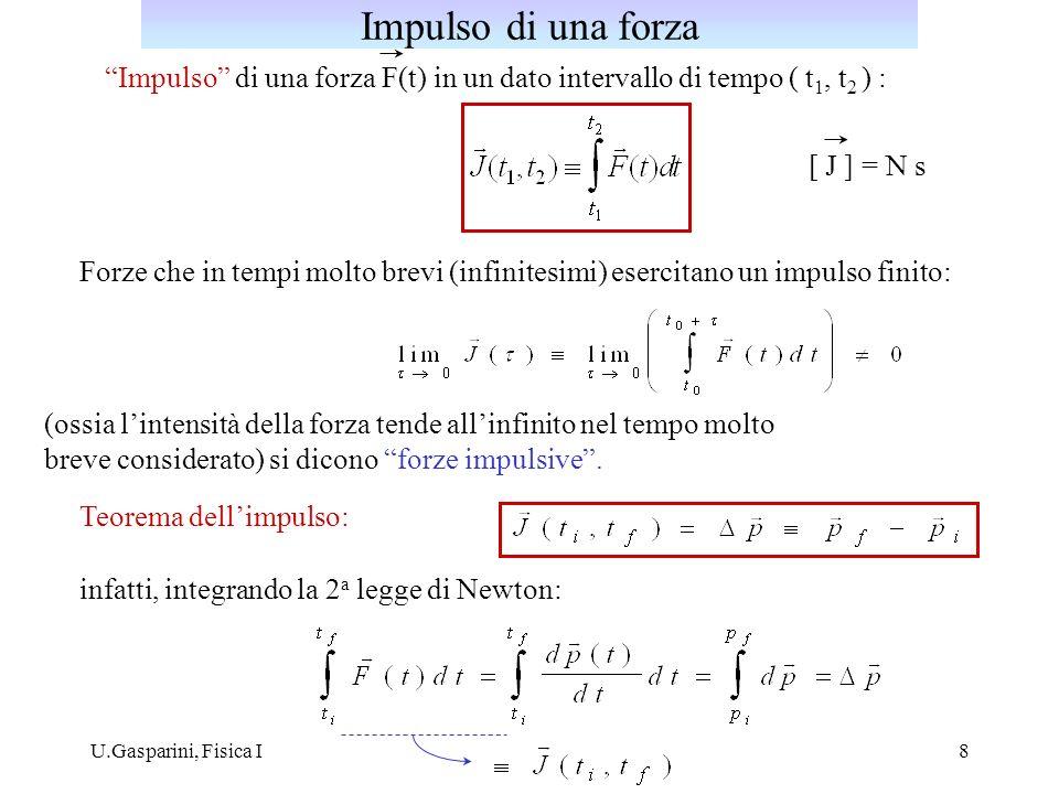 Impulso di una forza Impulso di una forza F(t) in un dato intervallo di tempo ( t1, t2 ) : [ J ] = N s.